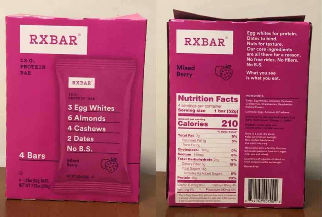 healthy diabetic protein bar nutrition label